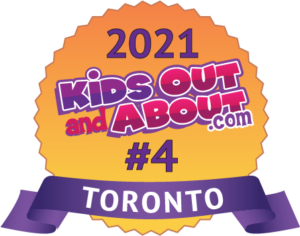 Image of an award that says 2021 Kids out and about #4 place
