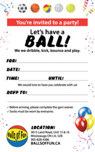 Image of a birthday party invitation with balls